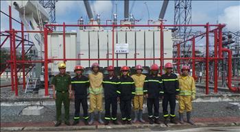Tổ thao tác lưu động Kiên Bình tập huấn công tác PCCC và diễn tập phương án PCCC&CNCH tại trạm 220kV Kiên Bình năm 2021