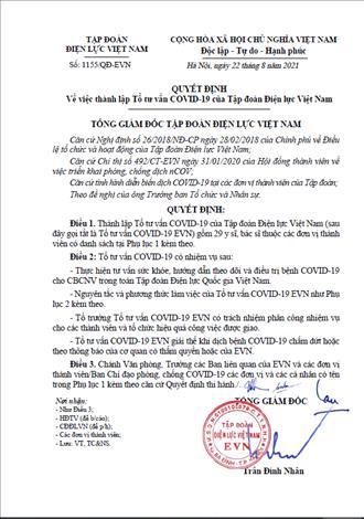 Thông báo thành lập Tổ tư vấn COVID-19 của Tập đoàn Điện lực Việt Nam.