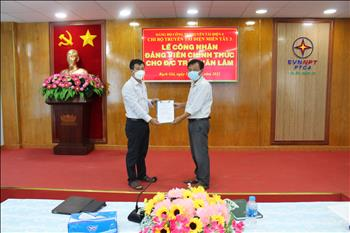 Chi bộ Truyền tải điện Miền Tây 3 tổ chức lễ kết nạp Đảng viên